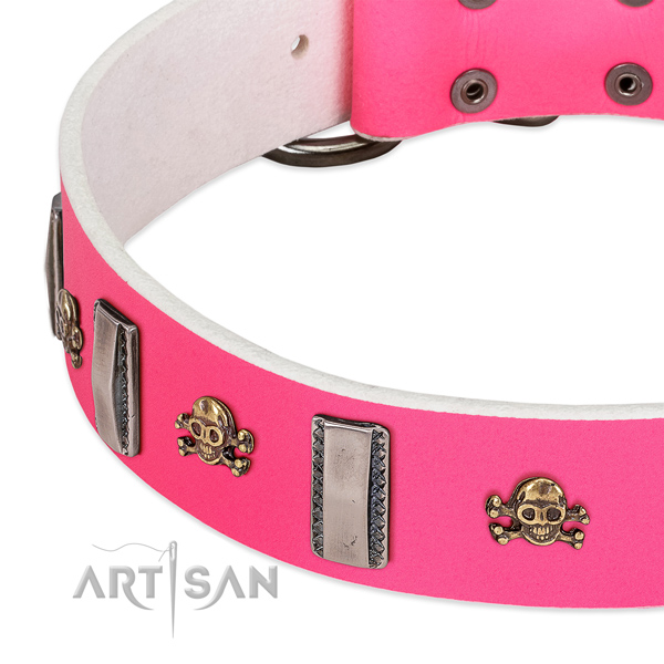 Exquisite studs on genuine leather dog collar for walking