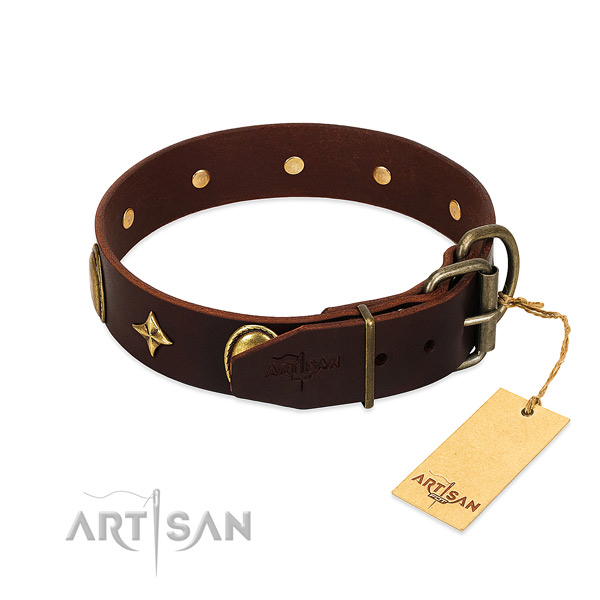 Soft natural leather dog collar with corrosion proof studs