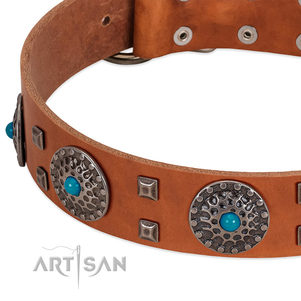 Flexible full grain genuine leather dog collar with significant decorations