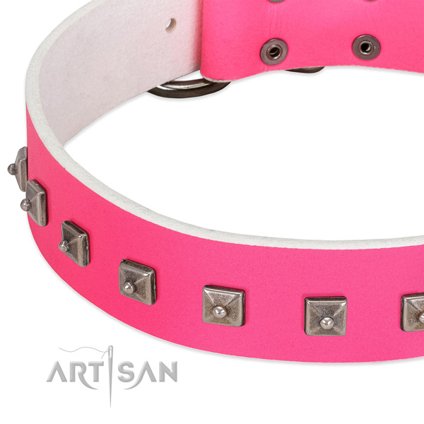 Best quality genuine leather dog collar with stylish studs