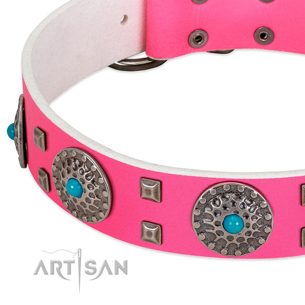 Gentle to touch genuine leather dog collar with remarkable decorations