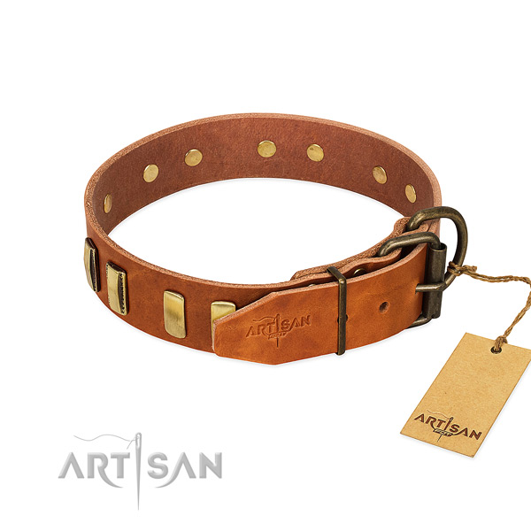 Flexible full grain genuine leather dog collar with corrosion proof D-ring