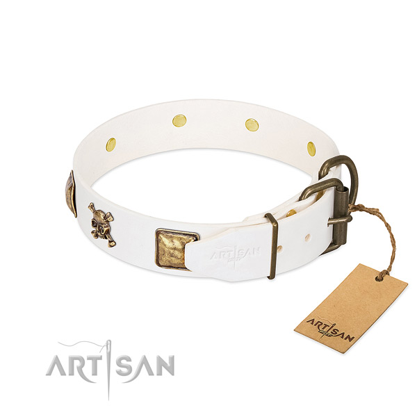 Exquisite full grain leather dog collar with corrosion resistant adornments