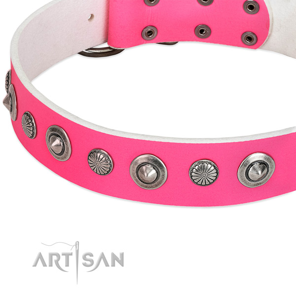 Genuine leather collar with corrosion resistant traditional buckle for your attractive canine