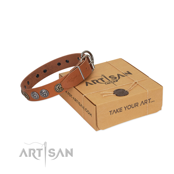 Leather collar with exquisite embellishments for your doggie
