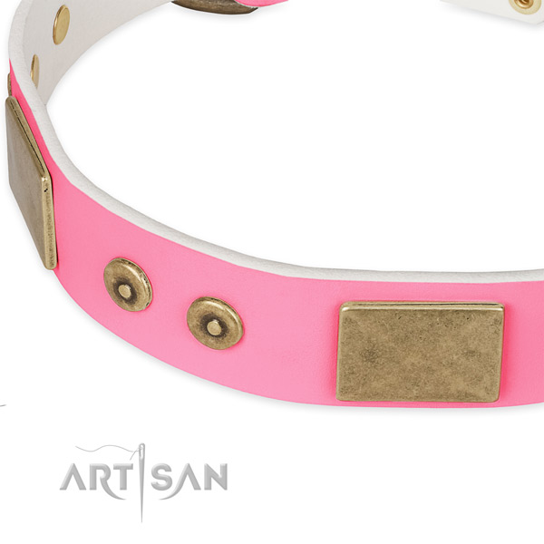 Full grain genuine leather dog collar with embellishments for handy use