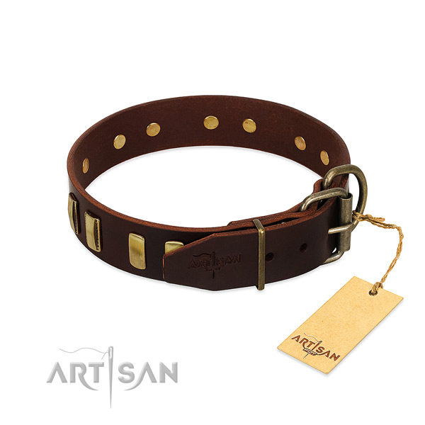 Genuine leather dog collar with corrosion resistant traditional buckle for daily use