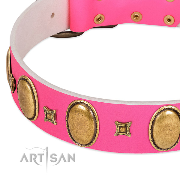 Soft to touch natural leather dog collar with studs for fancy walking