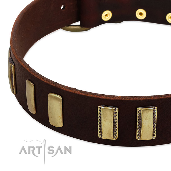 Genuine leather dog collar with corrosion proof D-ring for comfy wearing
