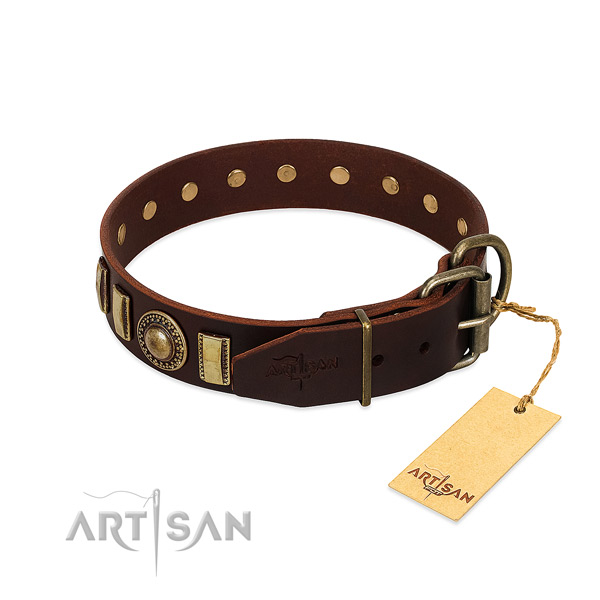 Soft to touch full grain genuine leather dog collar with studs