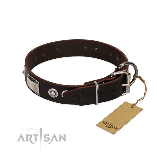 Stunning collar of genuine leather for your doggie