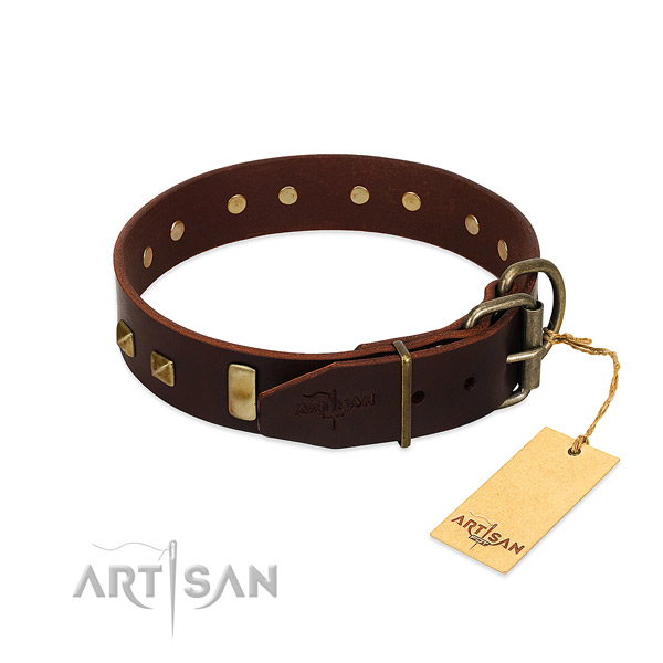 Quality full grain genuine leather dog collar with corrosion proof hardware