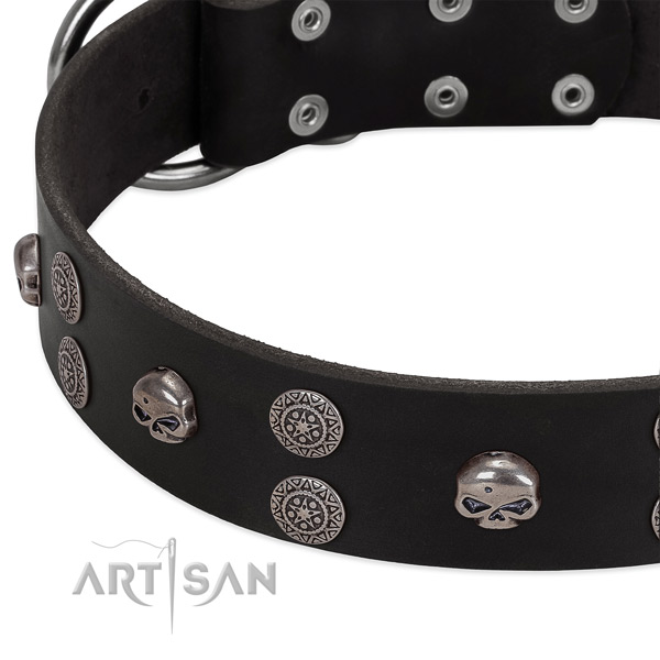Soft to touch full grain genuine leather dog collar with significant decorations