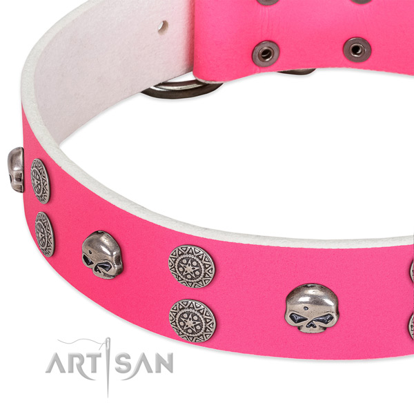 Soft leather dog collar with exquisite decorations