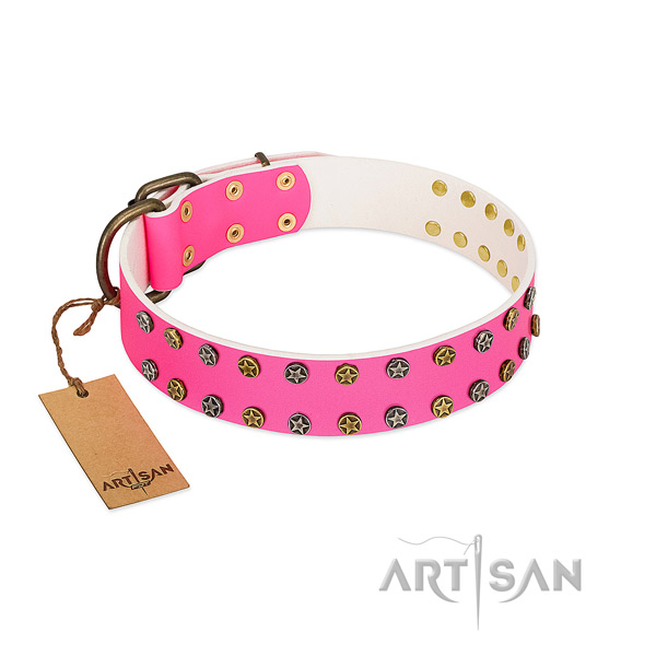 Best quality leather collar with embellishments for your four-legged friend