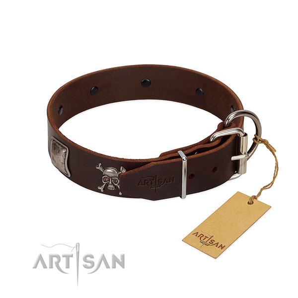 Handcrafted full grain natural leather collar for your impressive pet