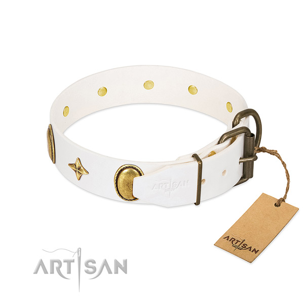 Durable natural leather dog collar with stylish design adornments