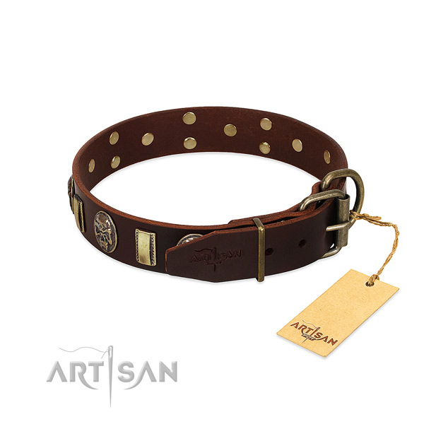 Natural genuine leather dog collar with rust resistant traditional buckle and decorations