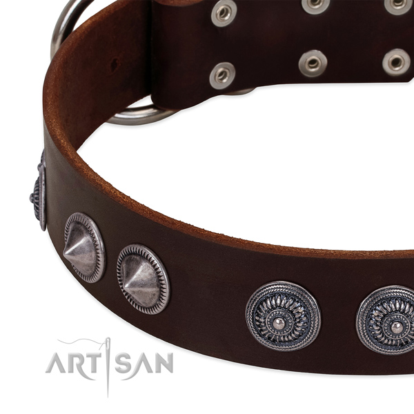 Soft to touch full grain genuine leather dog collar with top notch embellishments