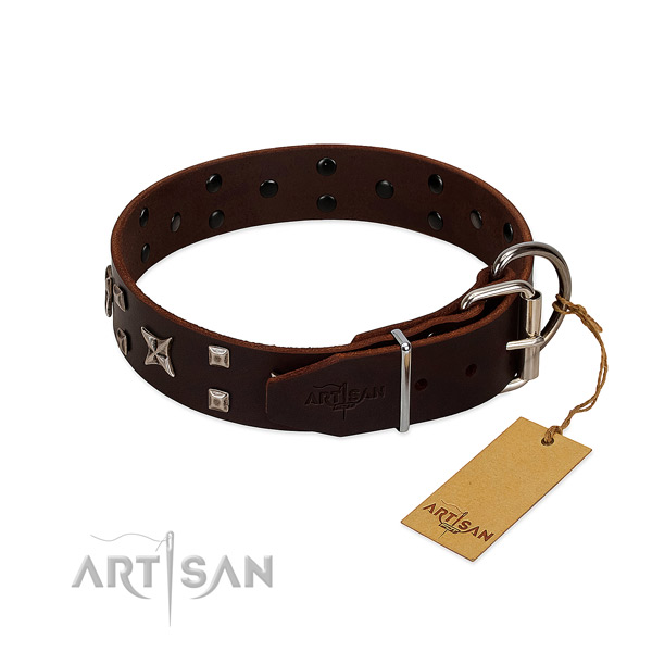 Gentle to touch natural leather collar handmade for your doggie