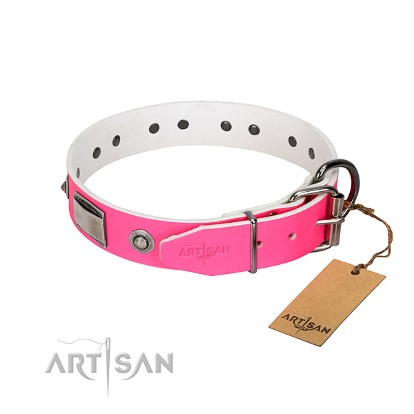 Easy wearing full grain leather collar with decorations for your dog