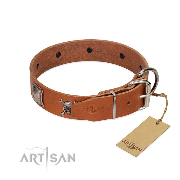 Adjustable genuine leather collar for your lovely four-legged friend