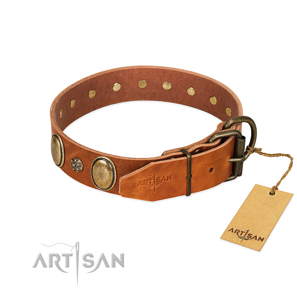 Handy use gentle to touch full grain leather dog collar