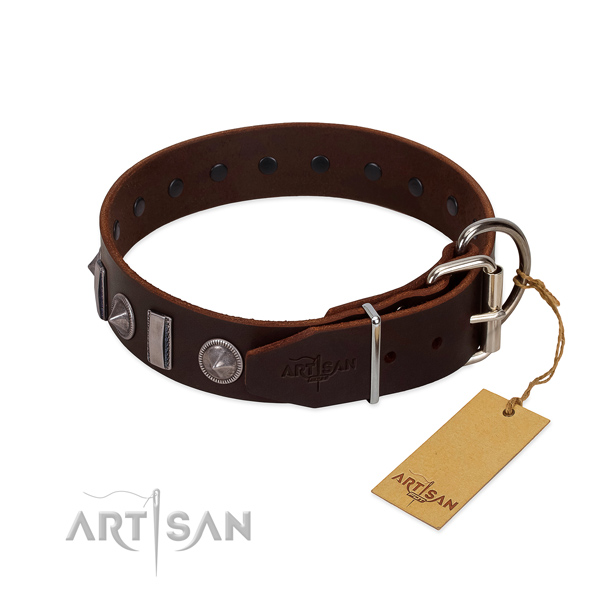 Gentle to touch natural leather dog collar with decorations for your attractive four-legged friend