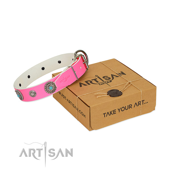 Everyday use soft genuine leather dog collar with adornments