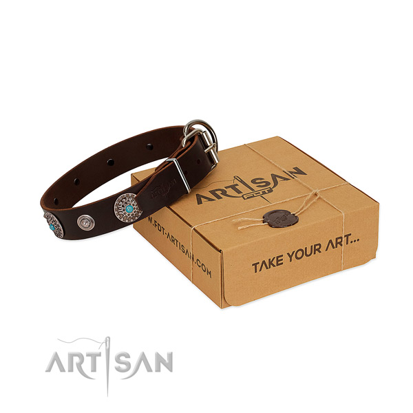 Easy wearing quality full grain genuine leather dog collar with decorations