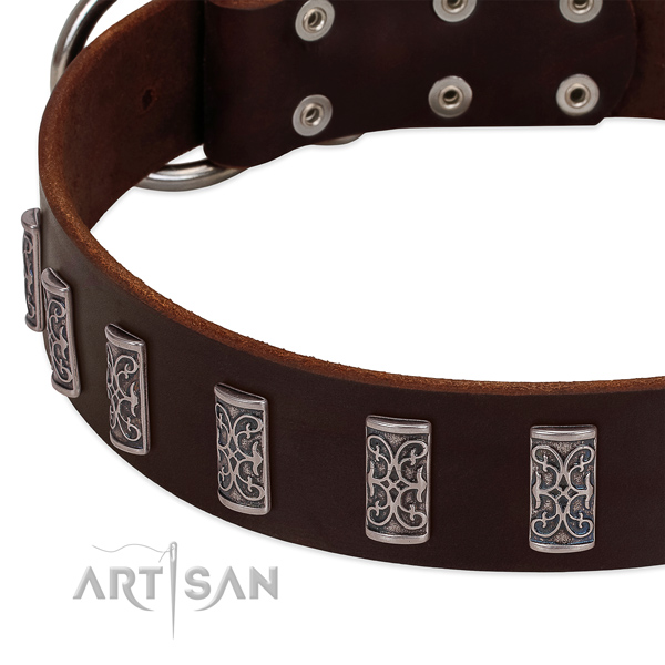 Soft natural leather dog collar made for your canine