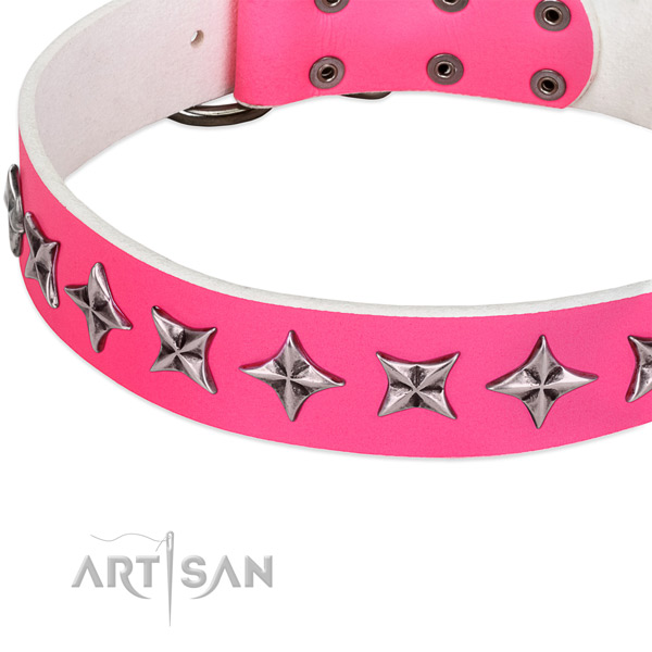 Handy use embellished dog collar of top quality natural leather