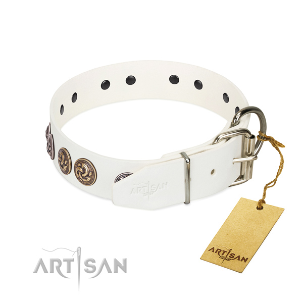 Rust-proof hardware on convenient genuine leather dog collar