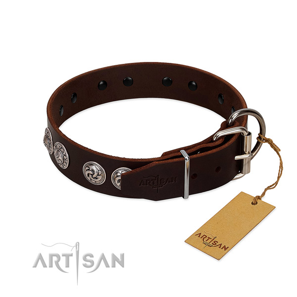 Exquisite full grain genuine leather collar for your dog stylish walking