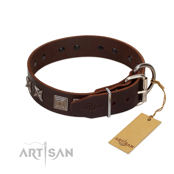 Leather dog collar crafted of soft material