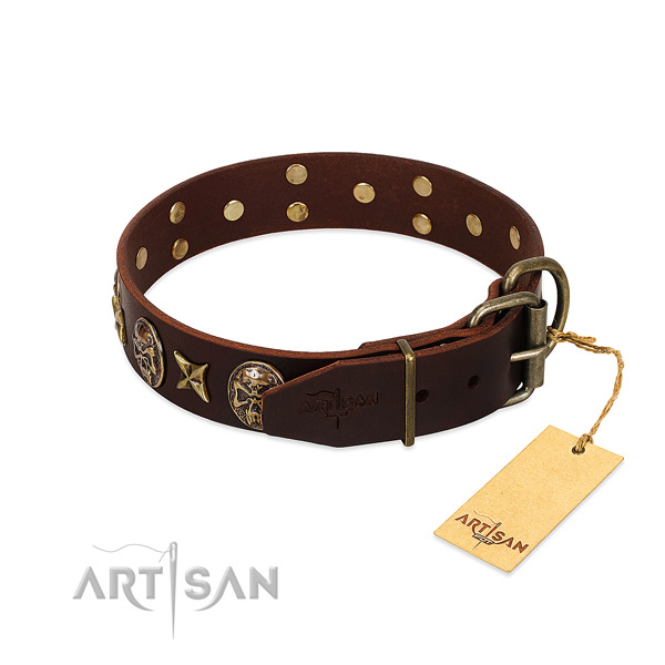 Corrosion proof hardware on genuine leather dog collar for your doggie