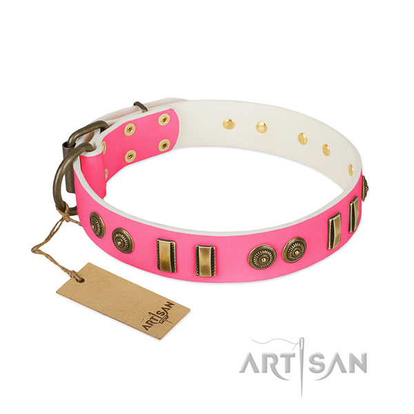 Designer natural leather collar for your pet