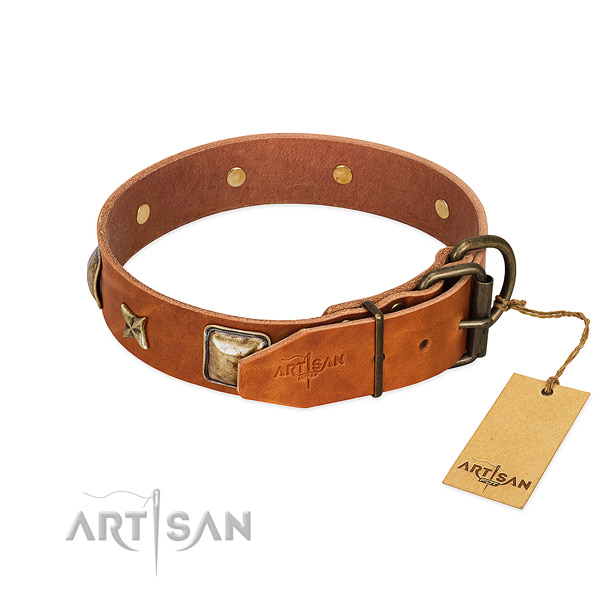 Natural genuine leather dog collar with rust resistant D-ring and decorations
