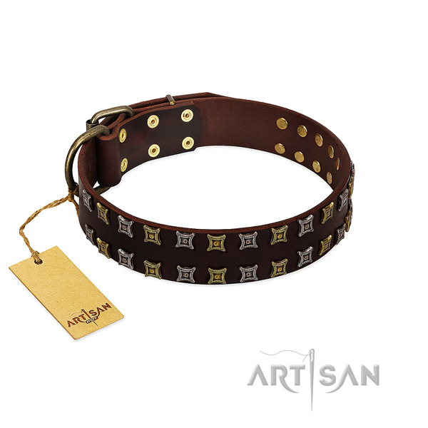 Top notch natural leather dog collar with decorations for your pet