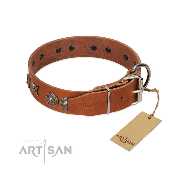 Comfortable wearing soft to touch natural leather dog collar with embellishments