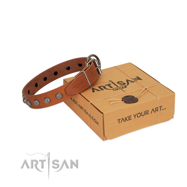 Comfortable wearing soft to touch full grain genuine leather dog collar with decorations