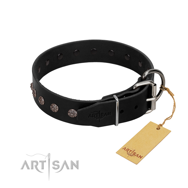 Gentle to touch leather dog collar with decorations for easy wearing
