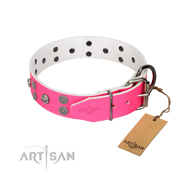 Flexible full grain natural leather dog collar with decorations for everyday use