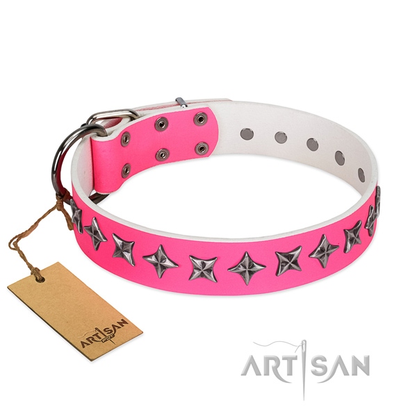 Easy wearing dog collar of strong natural leather with embellishments