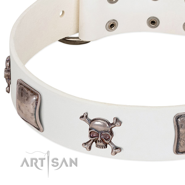 Corrosion proof adornments on full grain genuine leather dog collar
