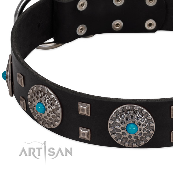 Soft natural leather dog collar with stunning adornments