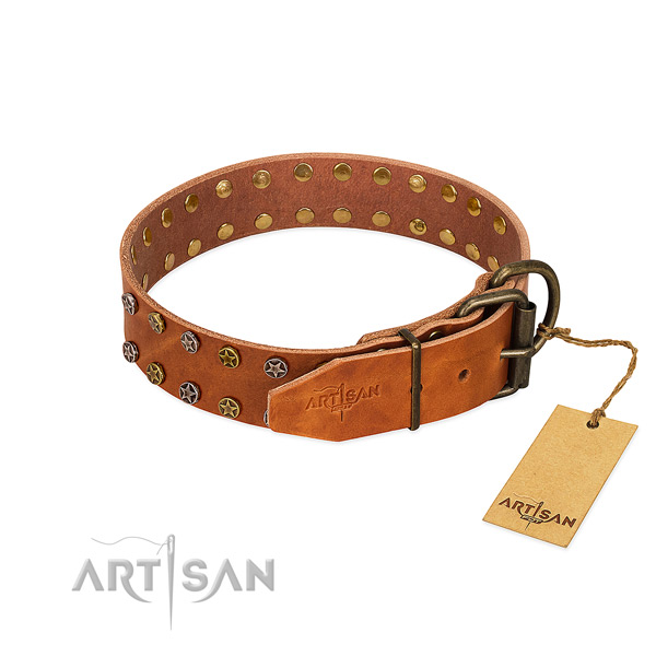 Daily walking full grain genuine leather dog collar with trendy decorations