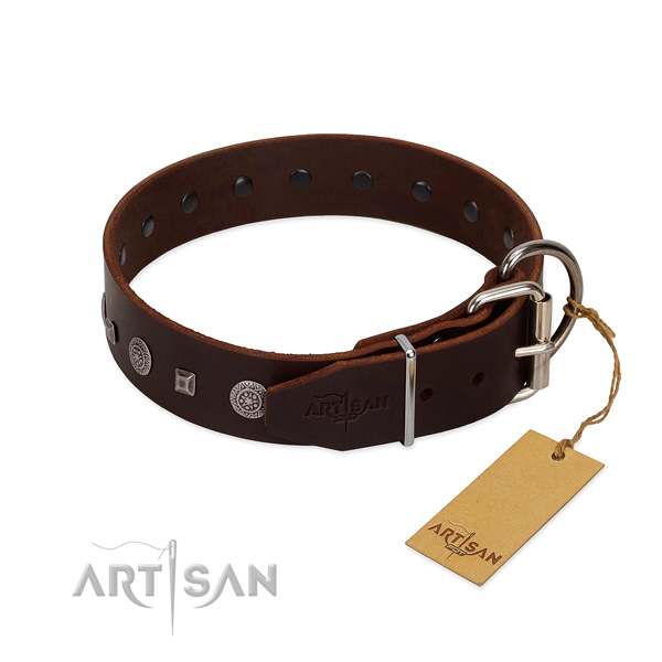 Reliable D-ring on extraordinary full grain genuine leather dog collar
