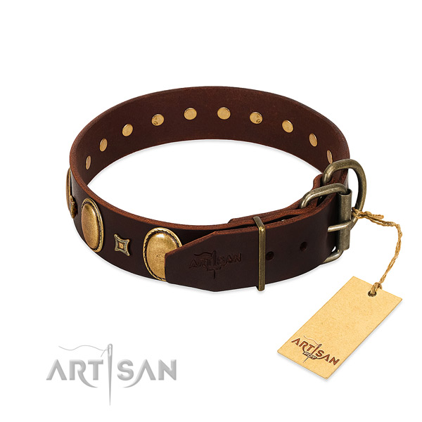 Flexible leather collar crafted for your pet