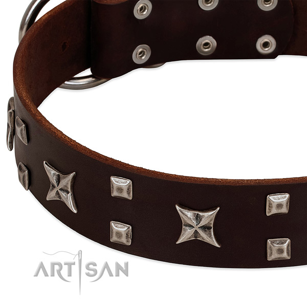 Best quality natural leather dog collar with studs for comfortable wearing